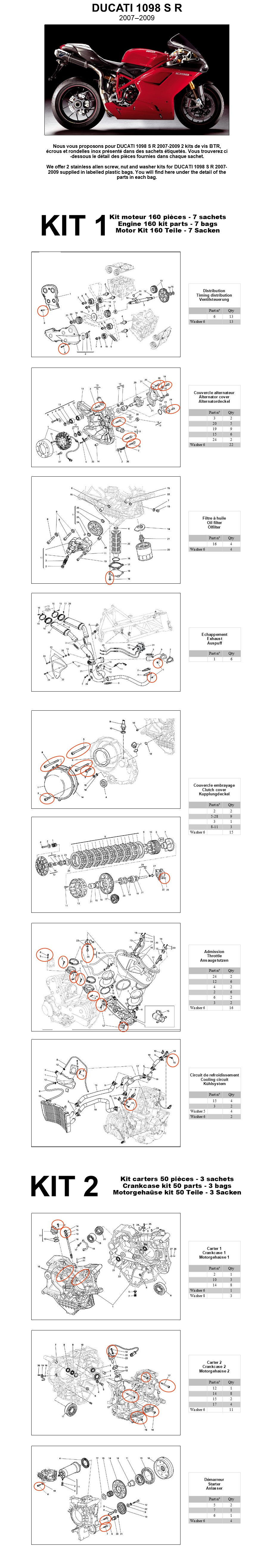Ducati 1098 S R 2007 20 Engine Stainless Allen Screw Kit 1 1098s Diagram Each Is Supplied With An Internet Address Of The Mounting Drawing For