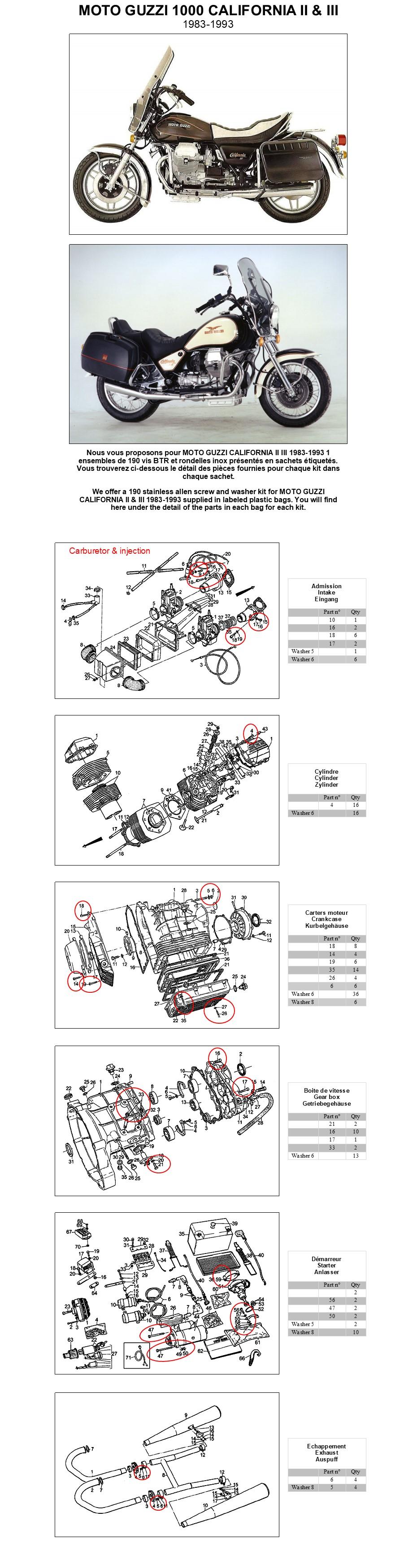 MOTO GUZZI 1000 STRADA 1993-1994 Kit vis BTR inox moteur complet