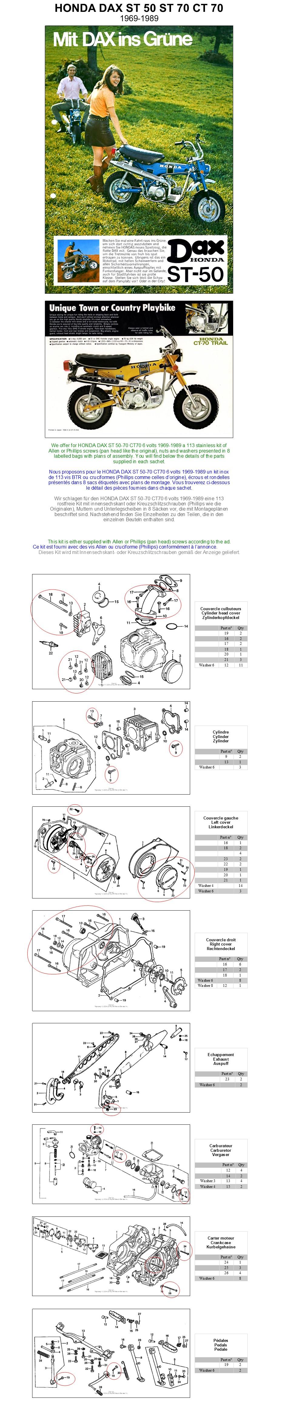 Honda Dax st 50//70 G 6 volts taxe chaîne ouverte NEUF