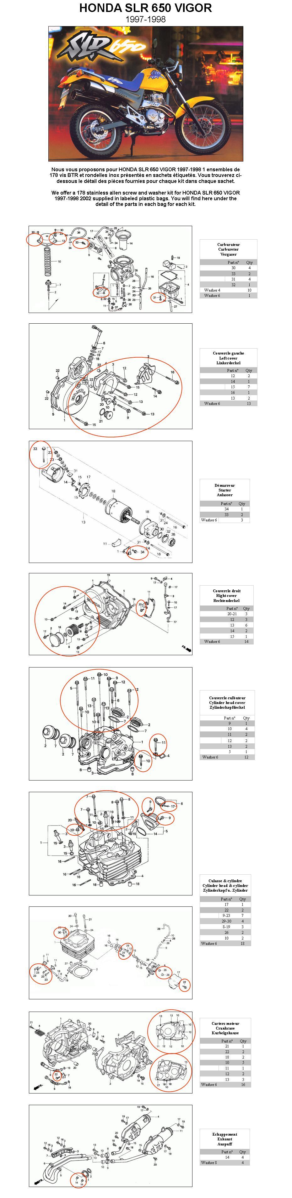 HONDA NX 250 DOMINATOR 1988-1998 Komplettmotor Inbus Rostfrei Schraubensatz