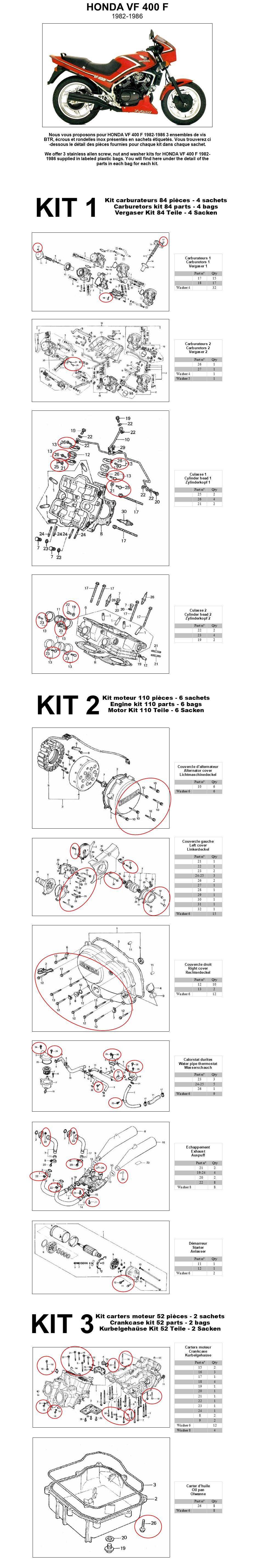 HONDA CM 400 T 1978-1982 Carburetor stainless allen screw kit #1 CM400T CM400