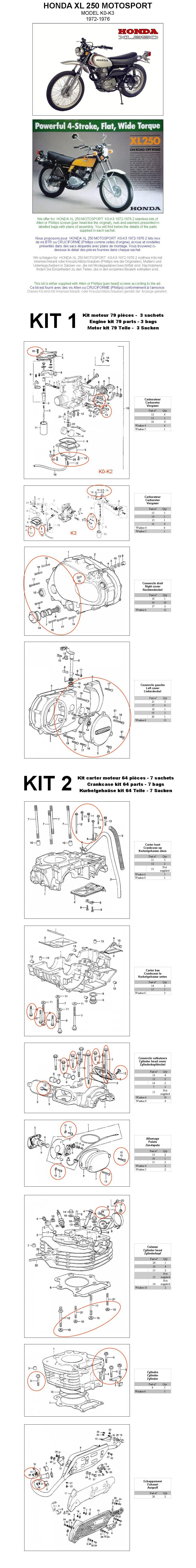 HONDA XL 250 R 1982-1983 Motor Inbus Rostfrei Schraubensatz nr.1 XL250R XL250