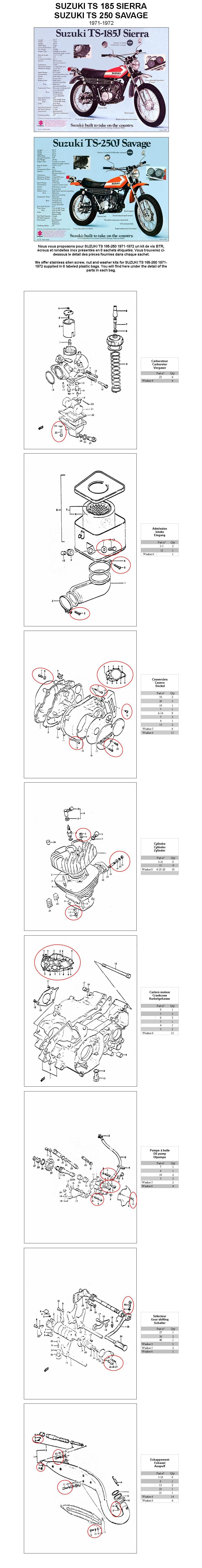 SUZUKI TS 250 185 1971-1972 carburetor & engine kit